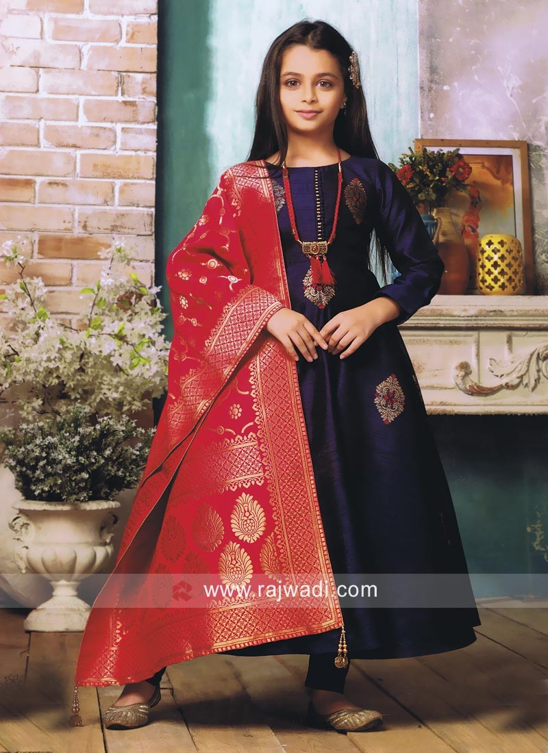 Silk Girls Anarkali Suit with Necklace