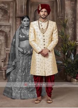 Silk Golden And Maroon Sherwani