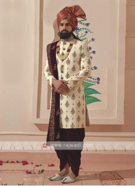 Silk Golden and Maroon Sherwani