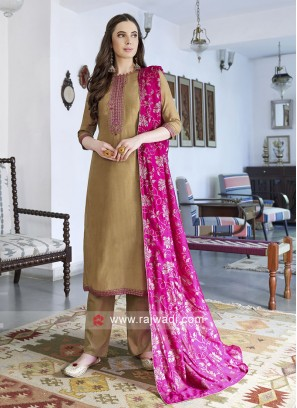Silk Golden Color Salwar Suit