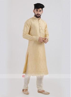 Silk Golden Kurta Pajama