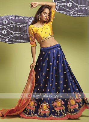 Silk Golden Yellow And Blue Lehenga Choli