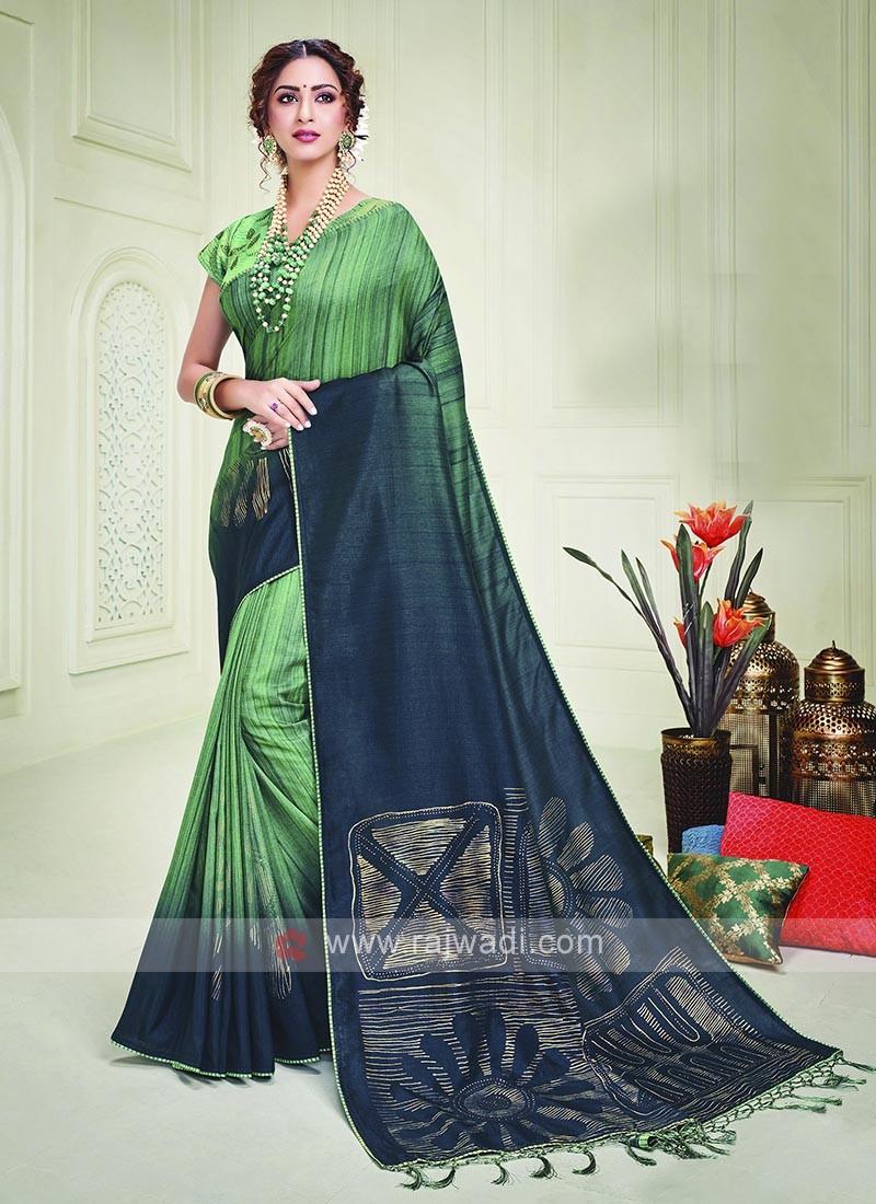 Silk Green And Peacock Blue Shaded Saree