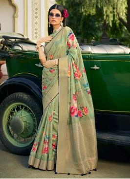Silk Green Classic Designer Saree