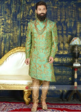 Silk Green Color Indo western