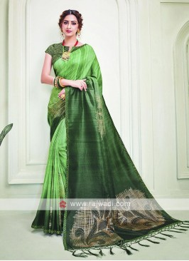 Silk Green Color Shaded Saree