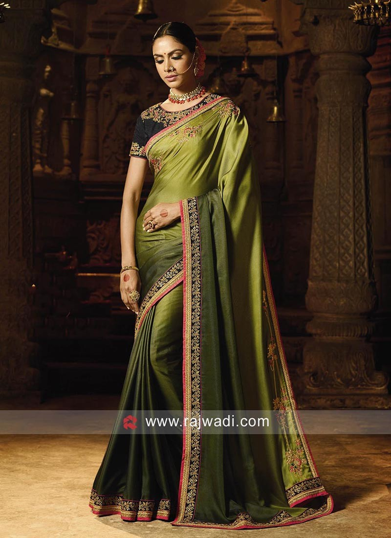 Silk Green Shaded Saree