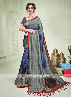 Silk Grey And Blue Color Shaded Saree