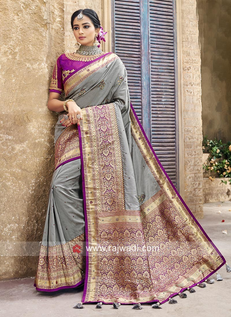 Silk Grey and Purple Wedding Saree