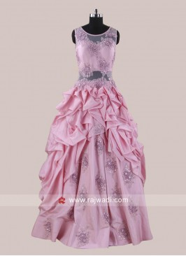 Silk Handkerchief Flare Gown in Pink