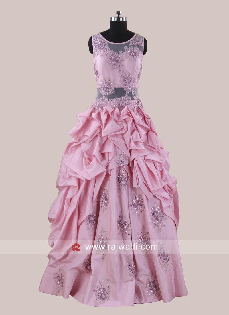 Silk Handkerchief Flare Gown in Pink
