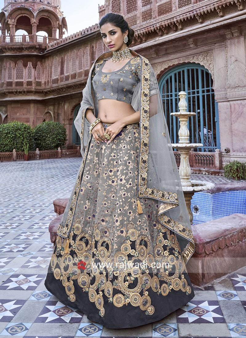 Silk Heavy Embroidered Lehenga Choli in Grey