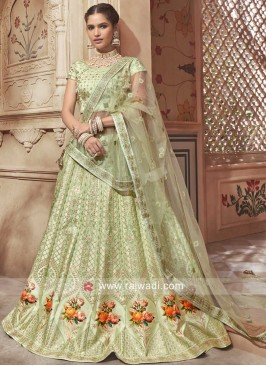 Silk Heavy Lehenga in Pista Green