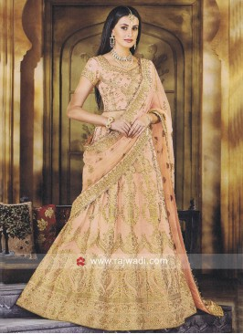 Silk Heavy Lehenga Set in Light Orange