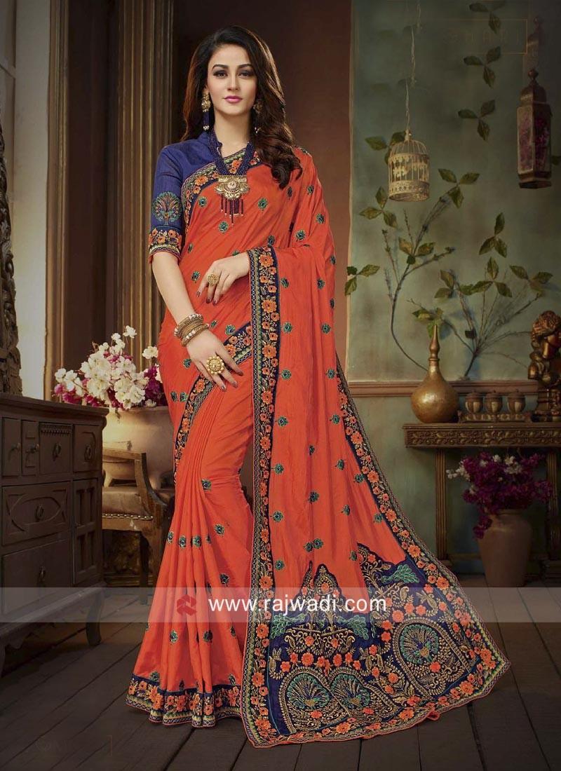 Silk Heavy Work Saree in Orange