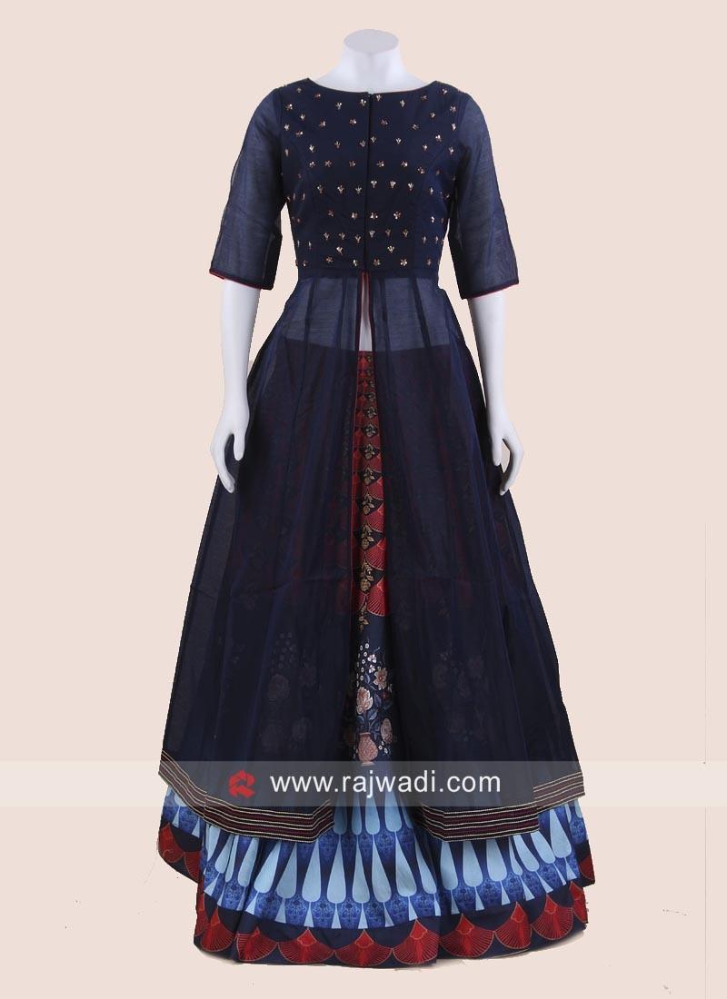 Silk Indo Western Choli Suit