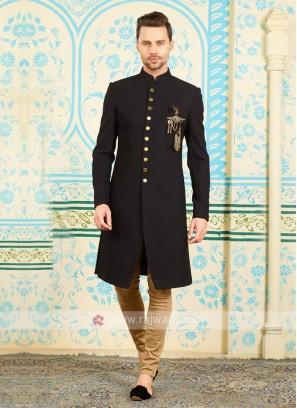 Silk indo-western in black color