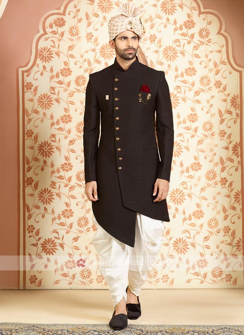 Silk indo-western in black color