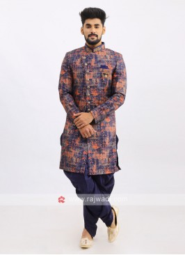 Silk Indo Western In Blue