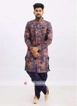 Silk Indo Western In Blue