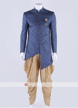 Silk indo-western in blue color