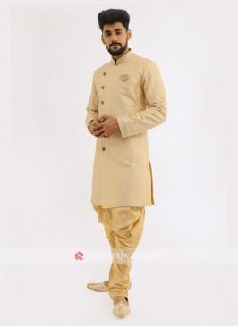 Silk Indo Western In Golden Cream