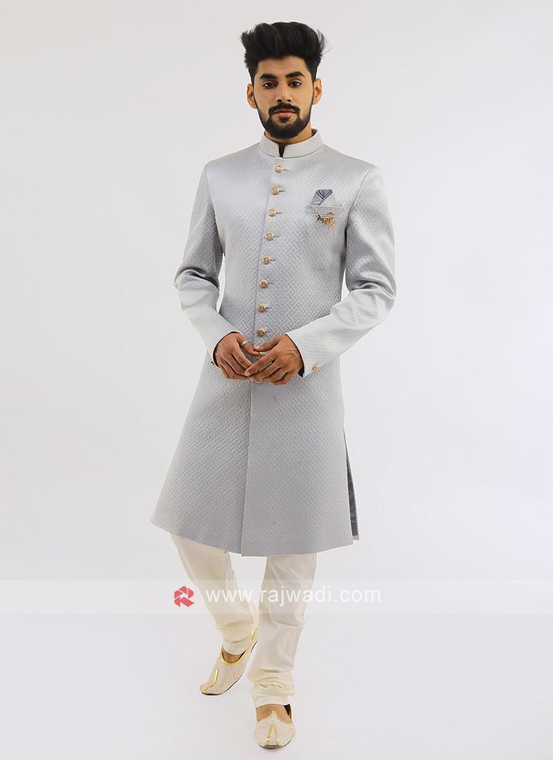 Silk Indo western In Grey