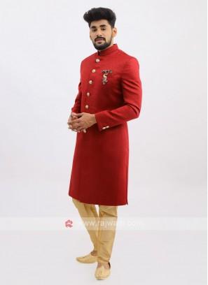Silk indo Western In Maroon