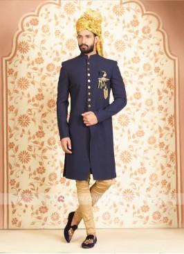 Silk indo-western in navy blue color