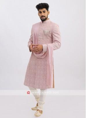 Net Silk Sherwani In Onion Pink