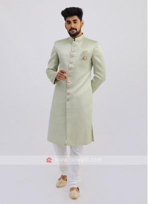 Silk indo Western In Pista Green