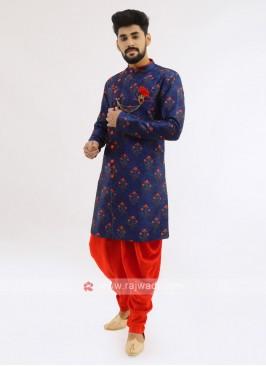Silk Indo Western In Royal Blue