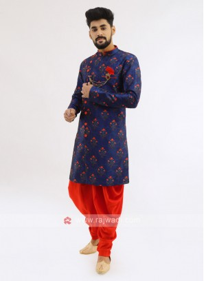 Silk Indo Western In Royal Blue