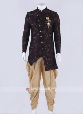 Silk indo-western in wine color