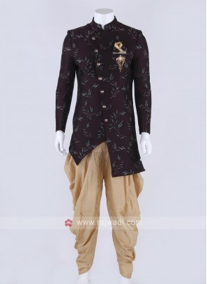 Silk indo-western in wine color