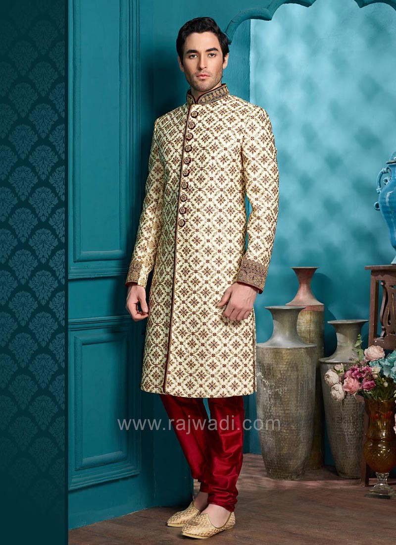 Silk Indo Western with Fancy Buttons