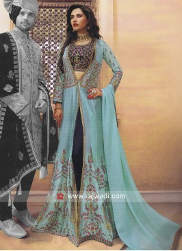 Silk Indowestern Lehenga Choli with Embroidery Work