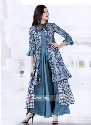 Silk Jacket Style Flare Kurti