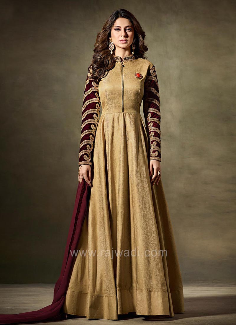 Silk Jennifer Winget Dress Material in Goldenrod