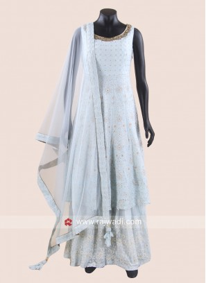 Silk Karachi Work Gharara Suit with Dupatta