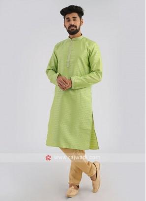 Silk Kurta Pajama In Green