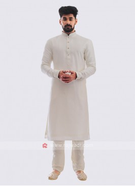 Silk Kurta Pajama In Off-White