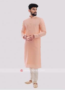 Silk Kurta Pajama In Peach