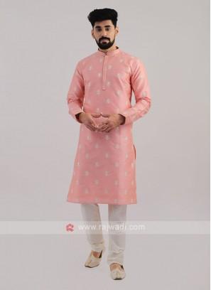 Silk Kurta Pajama In Pink