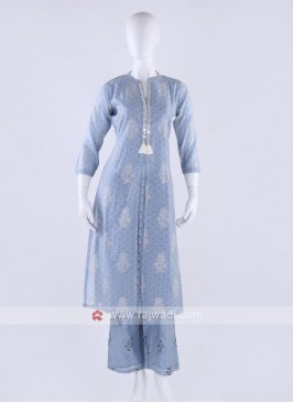 Silk kurti and palzzo in carolina blue color