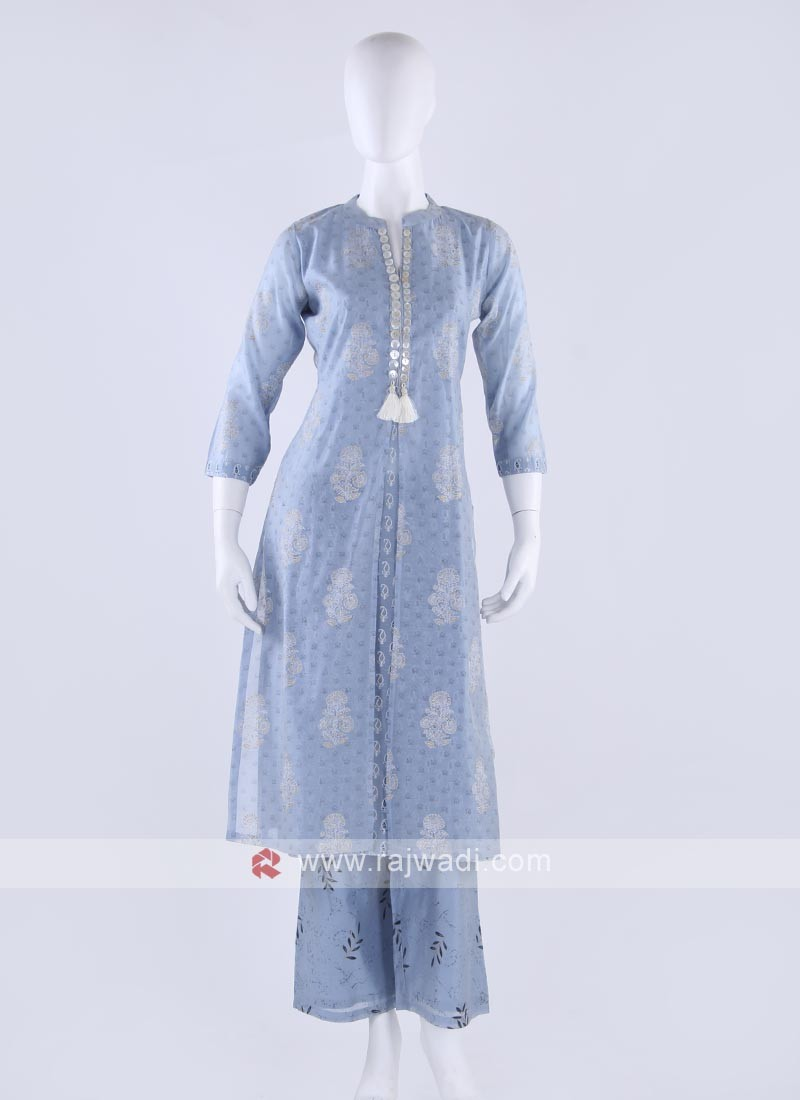 Silk kurti and palzzo in carolina blue color