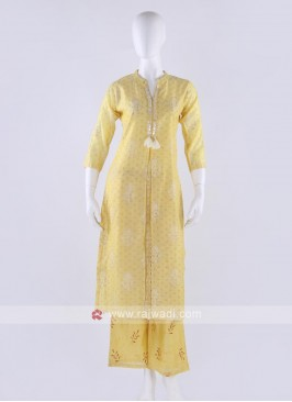 Silk kurti and palzzo in lemon yellow color