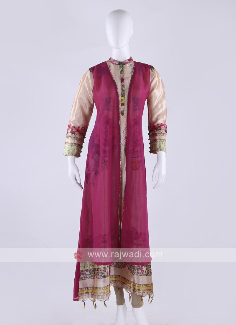 Silk kurti in beige and pink color