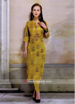 Silk Kurti in Dark Yellow