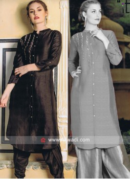 Silk Kurti in Olive Green